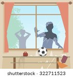 illustration of boys breaking a ... | Shutterstock . vector #322711523