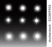 set of glowing light stars with ... | Shutterstock . vector #322809503