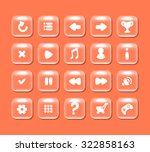square buttons with icons for...