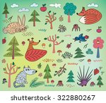 autumn kids pattern with animals | Shutterstock .eps vector #322880267