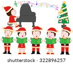 children showing a chorus in... | Shutterstock .eps vector #322896257
