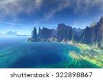 rocks and  lake. landscape of... | Shutterstock . vector #322898867
