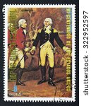 Small photo of EQUATORIAL GUINEA - CIRCA 1976: A stamp printed in GUINEA issued for the bicentenary of American Revolution shows the portrait of Genera Gates, circa 1976.