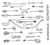 hand drawn arrows and bow... | Shutterstock .eps vector #322965797