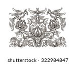 original hand drawing  floral...   Shutterstock . vector #322984847