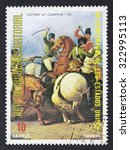 Small photo of EQUATORIAL GUINEA - CIRCA 1976: A stamp printed in GUINEA issued for the bicentenary of American Revolution shows picture of Victory At Cowpens, circa 1976.