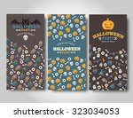 halloween banners set. flat... | Shutterstock .eps vector #323034053
