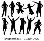happy active people silhouettes.... | Shutterstock .eps vector #323042927