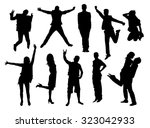 happy active young people... | Shutterstock .eps vector #323042933