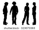 vector silhouette of people on... | Shutterstock .eps vector #323073383
