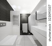 Black And White Bathroom 3d...