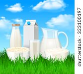 milk and sour cream products on ... | Shutterstock . vector #323100197