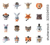 animal hipster set with flat... | Shutterstock . vector #323104553