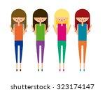 fashion gym girls set vector | Shutterstock .eps vector #323174147