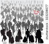 crowd of refugee people... | Shutterstock .eps vector #323238077