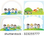 kids with blank border | Shutterstock .eps vector #323255777