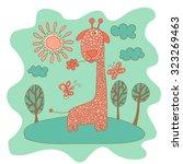 sketchy little pink giraffe in... | Shutterstock .eps vector #323269463