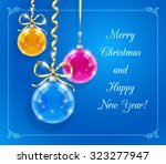 christmas card with shining... | Shutterstock .eps vector #323277947
