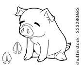 pig with paw print coloring... | Shutterstock .eps vector #323280683