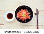 salmon sashimi sushi put in... | Shutterstock . vector #323282807