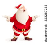 santa claus throw up hands.... | Shutterstock .eps vector #323287283