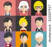 set of people icons in flat... | Shutterstock .eps vector #323337917