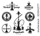 set of hookah labels  badges... | Shutterstock .eps vector #323341577