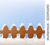 Vector Wooden Fence With Snow....