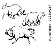 bull sign or emblem set.... | Shutterstock . vector #323369267