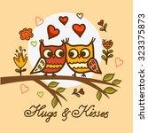 seamless cute cartoon owls...   Shutterstock .eps vector #323375873