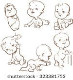 set with cute baby boys and... | Shutterstock .eps vector #323381753