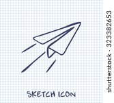 paper plane sign. airplane... | Shutterstock .eps vector #323382653