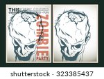 vector party poster. zombie... | Shutterstock .eps vector #323385437