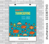 vector  thanksgiving day poster ... | Shutterstock .eps vector #323387543
