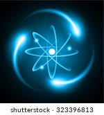 blue shining atom scheme.... | Shutterstock .eps vector #323396813