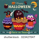 vintage halloween poster design ... | Shutterstock .eps vector #323427047