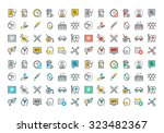 flat line colorful icons... | Shutterstock .eps vector #323482367