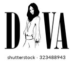 vector fashion beauty diva with ... | Shutterstock .eps vector #323488943