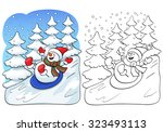 coloring book or page ... | Shutterstock .eps vector #323493113