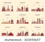 europe skylines detailed... | Shutterstock .eps vector #323555657