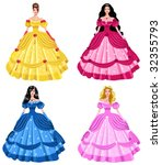 fairy tale princesses | Shutterstock .eps vector #32355793