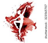ballerina in dance. watercolor...   Shutterstock .eps vector #323565707