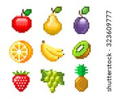 pixel fruits for games icons... | Shutterstock .eps vector #323609777