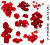 Set Of Red Rose Petals Isolate...