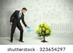 business man pouring water on... | Shutterstock . vector #323654297