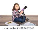 little girl holding her... | Shutterstock . vector #323677343