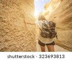 hiking   young hiker walking in ... | Shutterstock . vector #323693813