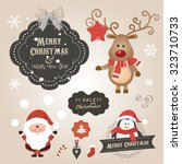 set of christmas ornaments and... | Shutterstock .eps vector #323710733