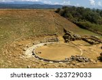 Small photo of The ancient theater of the ancient city of Stratos, near the modern city of Agrinio, in the region of Etoloakarnania, Greece.