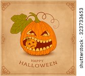happy halloween card with... | Shutterstock .eps vector #323733653